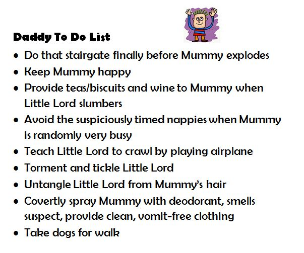 Daddy to do list