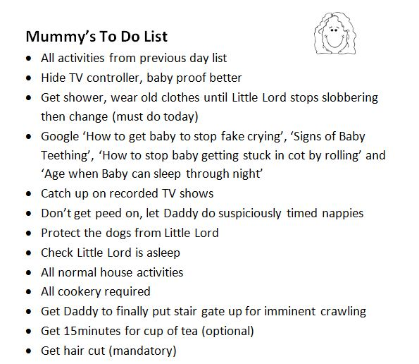 Mummy to do list